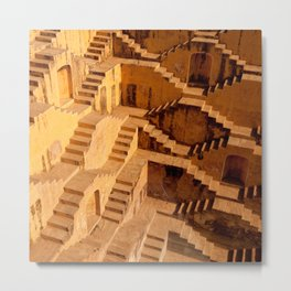Ancient water hole in Jaipur, India Metal Print