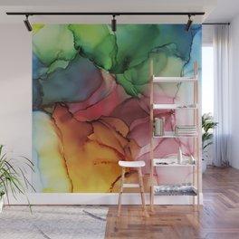Rainbow Bloom Abstract ink Wall Mural