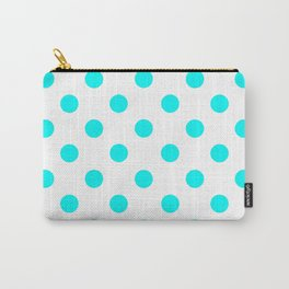 POLKA DOT DESIGN (CYAN-WHITE) Carry-All Pouch