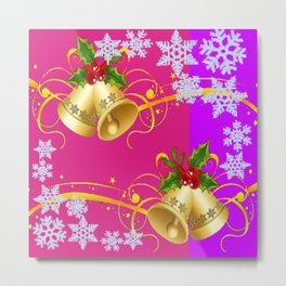 COLORFUL HAPPY HOLIDAY BELLS & SNOWFLAKES ART Metal Print
