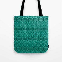 Cyan Damask Pattern Tote Bag