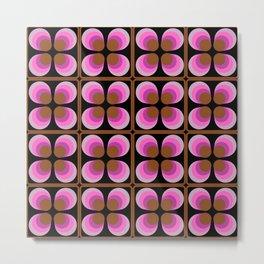 Mid Century Modern Floral Pink Black Pattern Metal Print