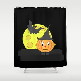 Funny emotionless pumpkin head with bat and moon Shower Curtain