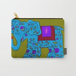 Blue Elephant with Pink Fleur de Lis Carry-All Pouch