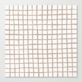 Strokes Grid - Nude on Off White Canvas Print