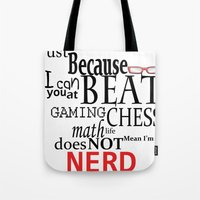 nerd Tote Bags featuring Nerd by Jessica Jimerson