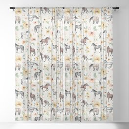 Horses and Flowers, Sunrise Floral, Cream, Horse Print, Horse Illustration, Pink and Yellow, Equestrian, Little Girls Sheer Curtain