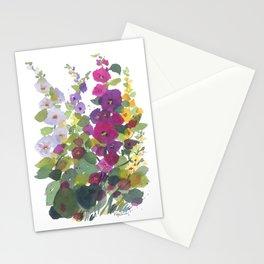 Purple Hollyhock Garden Stationery Cards