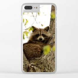 Happy in her hideout Clear iPhone Case