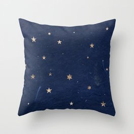 Good night - Leaf Gold Stars on Dark Blue Background Throw Pillow
