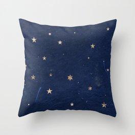 Good night - Leaf Gold Stars on Dark Blue Background Throw Pillow