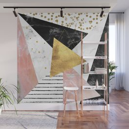 Elegant geometric marble and gold design Wall Mural