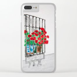 Geraniums in Window Watercolor Clear iPhone Case