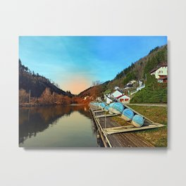 Pontoon landing stages in the harbour | waterscape photography Metal Print