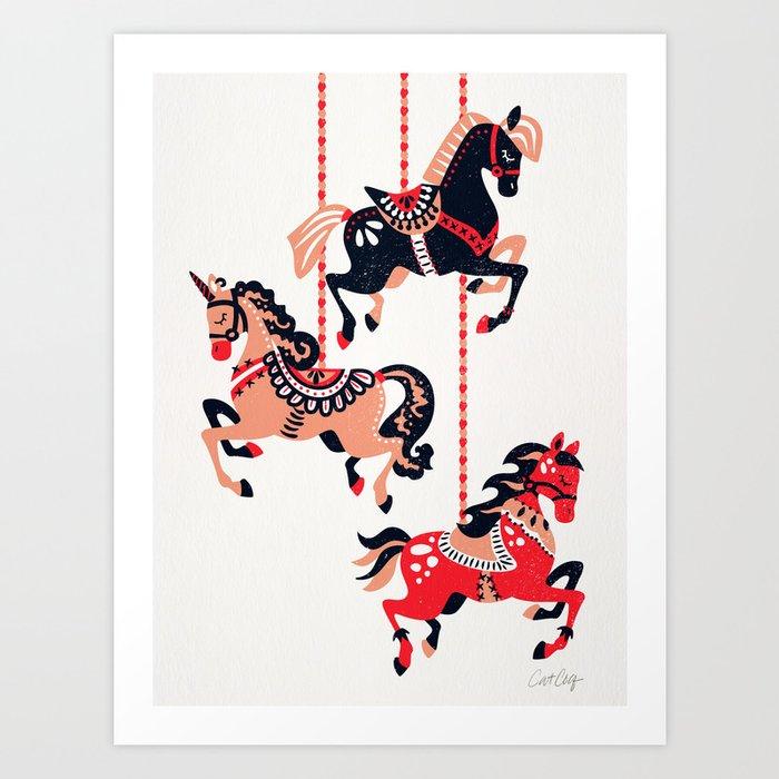 Carousel Horses – Red & Black Palette Art Print