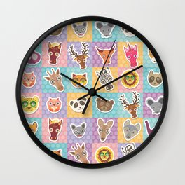 funny animals muzzle pattern with pink lilac blue orange square Wall Clock