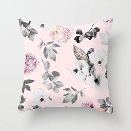 Night bloom - moonlit pink blush Throw Pillow