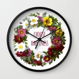 Choose happiness - Inspirational Quote + Vintage Illustration Print Wall Clock