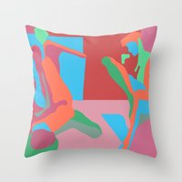 nudes Throw Pillows featuring three nudes by design lunatic