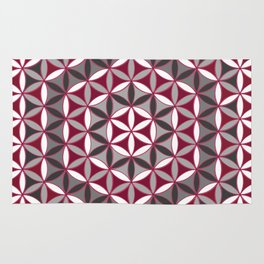 Flower of Life Red Grey Rug