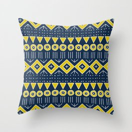 Mudcloth Style 2 in Navy Blue and Yellow Throw Pillow