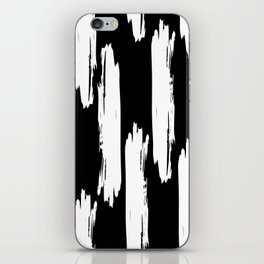 Black And White Retro Bold Paint Lines Pattern iPhone Skin