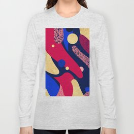 Psychedelic terrazzo galaxy blue night gold red Long Sleeve T-shirt