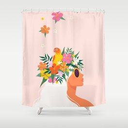 Blonde woman with tropical flower wreath and parrot in her hair Shower Curtain