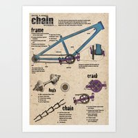 """how a bike chain works"" Art Print"