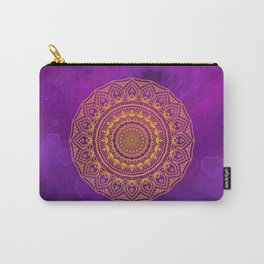 Gold Mandala and Purple Hearts Carry-All Pouch