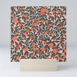 Oranges and Leaves Pattern - Pink Mini Art Print