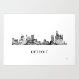 Detroit, Michigan Skyline WB BW Art Print