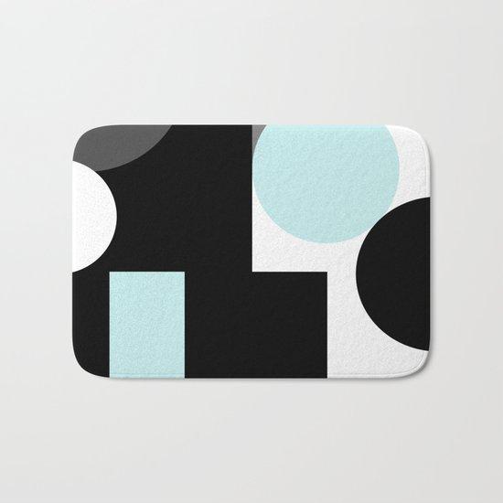 An abstract geometric pattern . Geometric shapes . Black sky blue white pattern . Bath Mat