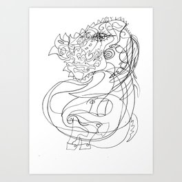 Horse with flowers Art Print