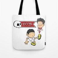 soccer Tote Bags featuring Soccer Skull by flydesign