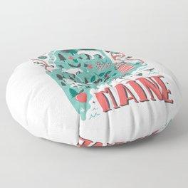 Maine Map Floor Pillow