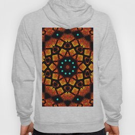 Bright Red Orange Mosaic Kaleidoscope Mandala Hoody