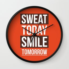 Lab No. 4 - Sweat Today Smile Tomorrow Gym Inspirational Quotes Poster Wall Clock