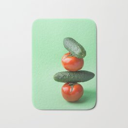 Food still life vegetables pyramid tomatoes cucumbers Bath Mat