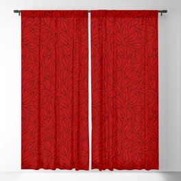 V.11 - Striated Leaves - Vermilion Blackout Curtain