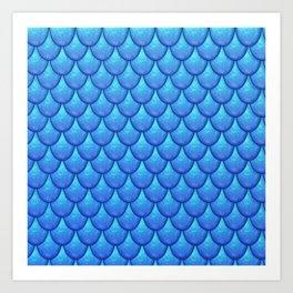Fish Scales - Blue Version Art Print