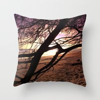 bebop Throw Pillows featuring Early morning beach walks are filled with treasures by Donuts