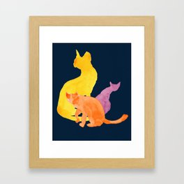 Happy Cats On Midnight Blue Framed Art Print