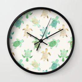 Gilded Jade & Mint Turtles Wall Clock