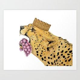Cheetah Holding Grapes Art Print