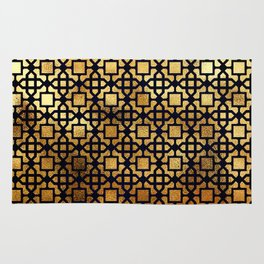 Luxurious Gold-Bronze Islamic Geometric Pattern Rug