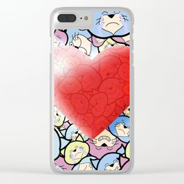 Catty Heart Clear iPhone Case