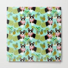 Tri Corgi Hula Grass Skirts Pineapple Tropical Summer Cute tricolored corgi design Metal Print