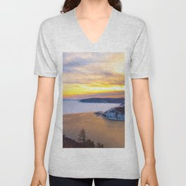 Lake Baikal and Angara River Unisex V-Neck