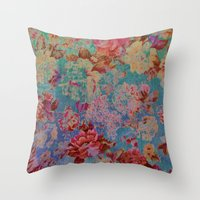 vintage floral Throw Pillows featuring vintage floral by clemm